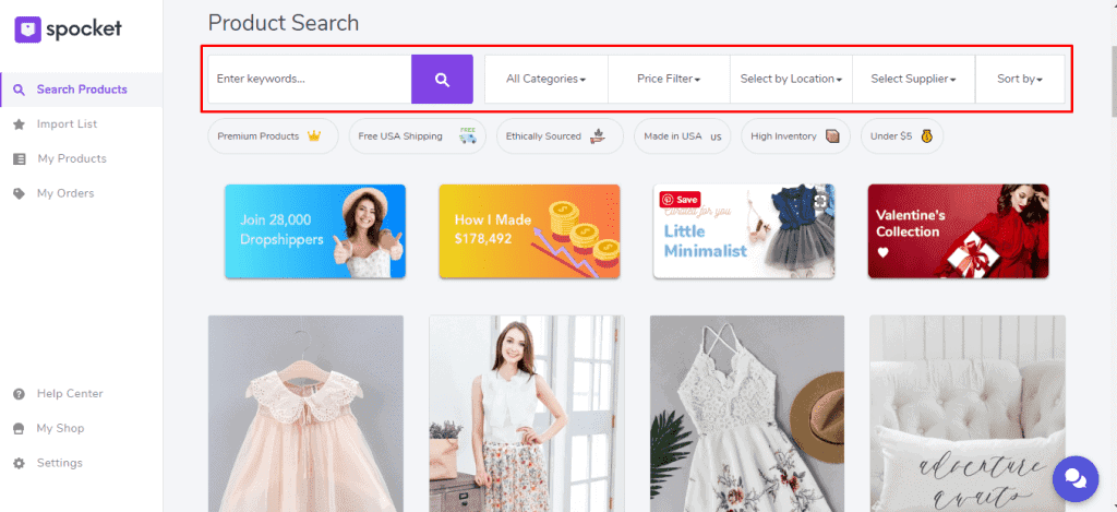Spocket Search for product