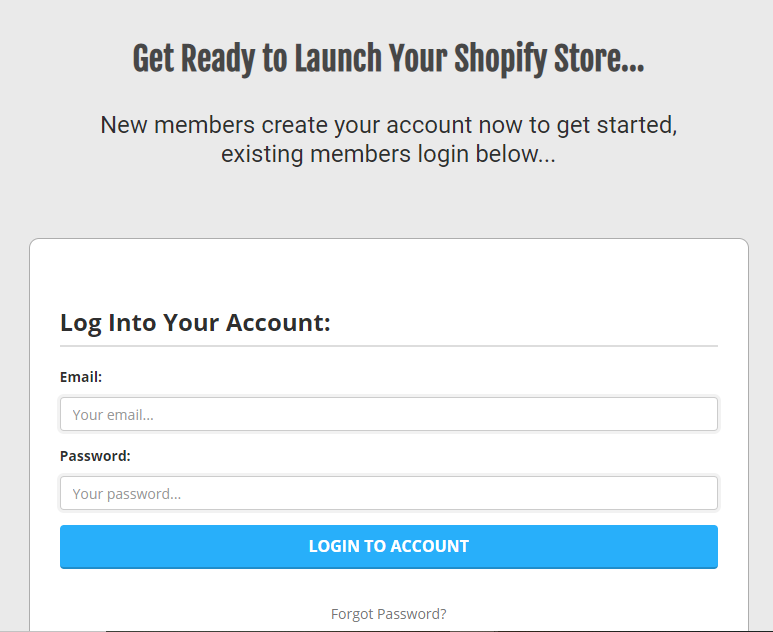 shopify membership access page